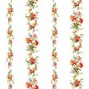 Belvedere Floral Bouquet Stripe  ~  White
