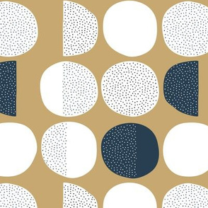 Abstract magic moon cycle phase Scandinavian minimal retro circle design gender neutral gold navy blue