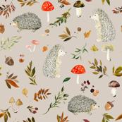 Hedgehogs and Fall Foliage // Soft Amber