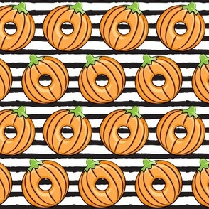 Pumpkin donuts -  black stripes - fall doughnuts - halloween - LAD19
