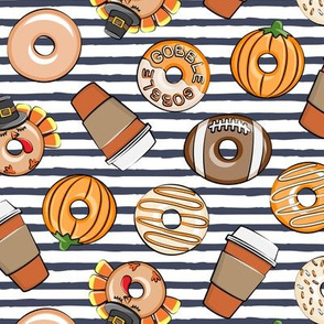 Thanksgiving donuts and coffee - fall - doughnuts - blue stripes - LAD19