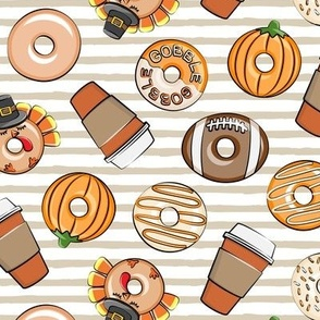 Thanksgiving donuts and coffee - fall - doughnuts - tan stripes - LAD19