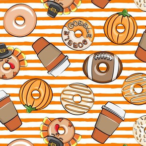 Thanksgiving donuts and coffee - fall - doughnuts - orange stripes - LAD19