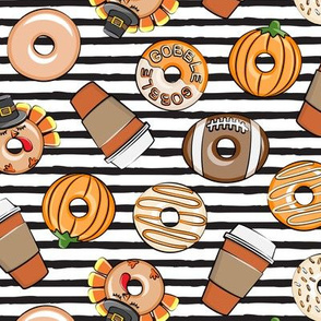 Thanksgiving donuts and coffee - fall - doughnuts - black stripes - LAD19