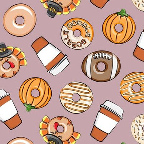 Thanksgiving donuts and coffee - fall - doughnuts - mauve - LAD19