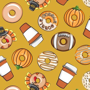 Thanksgiving donuts and coffee - fall - doughnuts -  gold - LAD19