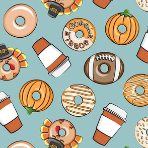 Thanksgiving donuts and coffee - fall - doughnuts - dusty blue - LAD19