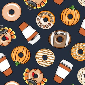 Thanksgiving donuts and coffee - fall - doughnuts - dark blue - LAD19
