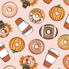 Thanksgiving donuts and coffee - fall - doughnuts - pink - LAD19