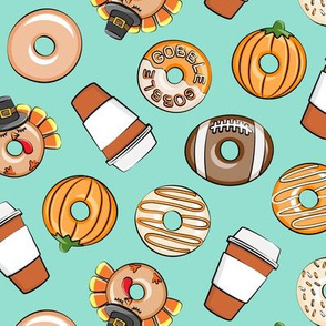 Thanksgiving donuts and coffee - fall - doughnuts - aqua - LAD19