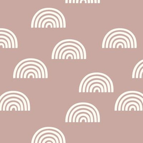 Scattered Rainbows //  white on dusty pink