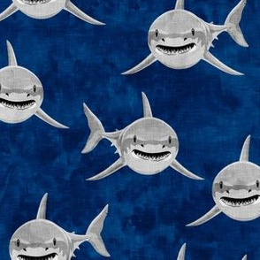 Sharks on dark blue - great white sharks - LAD19
