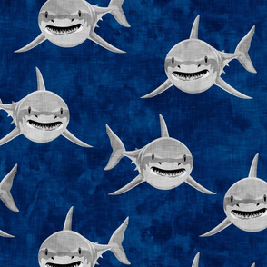 (Jumbo) Sharks on dark blue - great white sharks - LAD19