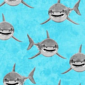 Sharks on blue - great white sharks - LAD19