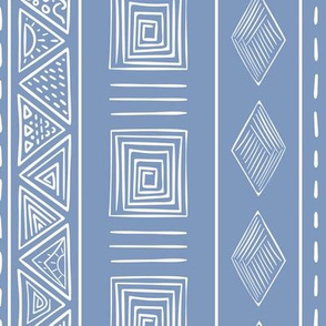 Blue and white ethnic tribal style pattern