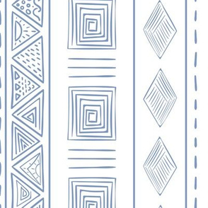 White and blue ethnic print