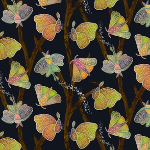 Forest Doodle Moths  in earth tones, small