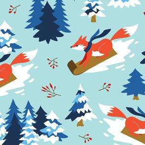 Winter fox on sled mint