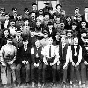 Cadillac Motor Car Co. employees, in front of plant in Detroit, Michigan, ca. 1910