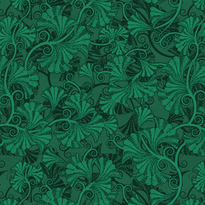 Japanese-Style Floral Damask in Green