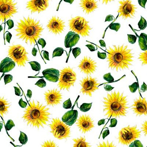 Colorful watercolor sunflowers summer seamless pattern