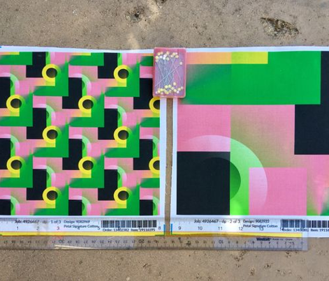 color blocking block shapes, small scale, pink green yellow black white