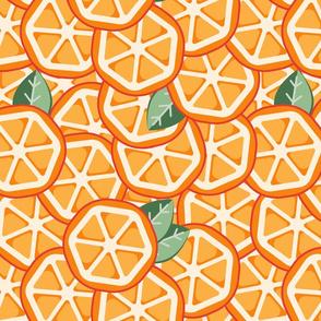 Orange slices with mint.