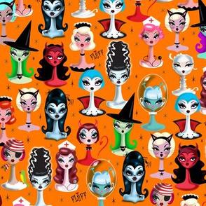 Small-Spooky Dolls on Orange