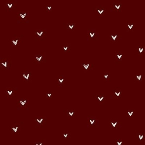 freehand hearts on burgundy #500000