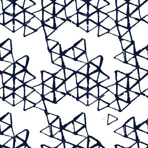 batik geodesic indigo - inverted