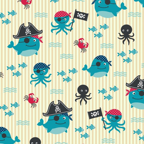Vintage underwater pirates Wallpaper Fabric