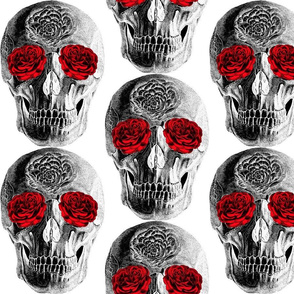 Grinning Skull With Roses For Eyes, Inverted