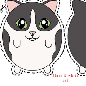 black and white cat plush pillow