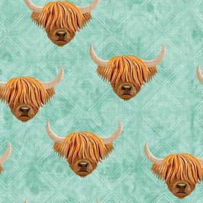 Highland cattle - highlander cow -  aqua on diamonds - LAD19