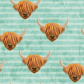 Highland cattle - highlander cow -  aqua on stripes - LAD19