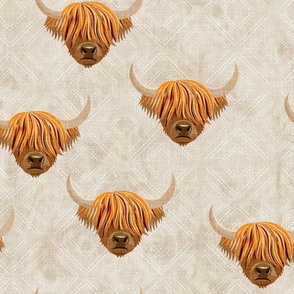 Highland cattle - highlander cow -  beige on diamonds - LAD19