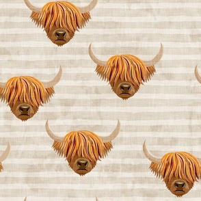 Highland cattle - highlander cow - beige on stripes - LAD19
