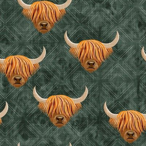 Highland cattle - highlander cow -  green on diamonds - LAD19