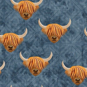 Highland cattle - highlander cow -  blue on diamonds - LAD19