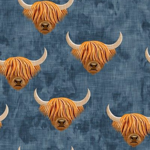 Highland cattle - highlander cow -  blue - LAD19