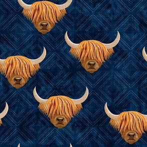 Highland cattle - highlander cow -  navy on diamonds - LAD19