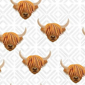 Highland cattle - highlander cow -  diamonds - LAD19