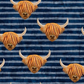 Highland cattle - highlander cow -  navy on stripes - LAD19