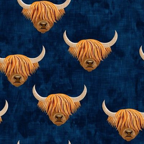 Highland cattle - highlander cow -  navy - LAD19