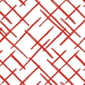 Abstract geometric raster checkered diagonal stripes stroke and lines trend pattern red white