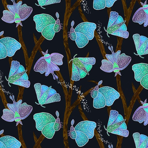 Forest Doodle Moths in blues, small