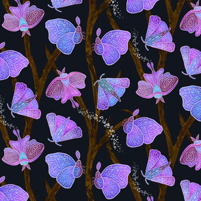 Forest Doodle Moths in purples, small