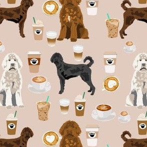 labradoodle dogs coffee fabric - dog fabric, labradoodle dog fabric - light