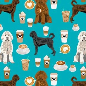 labradoodle dogs coffee fabric - dog fabric, labradoodle dog fabric - teal