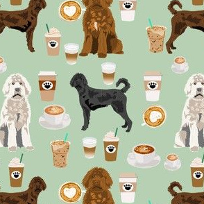 labradoodle dogs coffee fabric - dog fabric, labradoodle dog fabric - mint